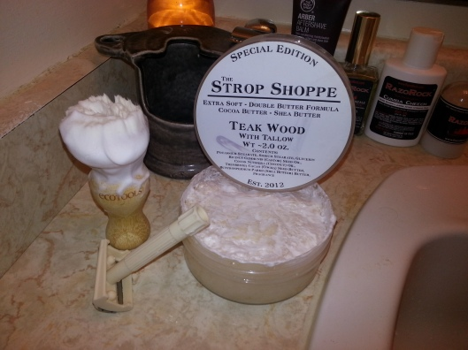The Strop Shoppe - Teak Wood with Tallow